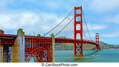 Panoramic landscape view of the Golden Gate Bridge in San Francisco California