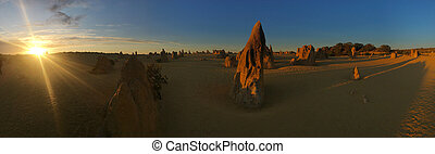 Panoramic landscape view of the Pinnacle desert limestone ...