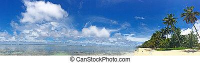 Panoramic landscape view of Titikaveka Beach in Rarotonga Cook Islands