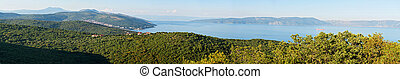 Panoramic landscape view to the sea and hills in Croatia