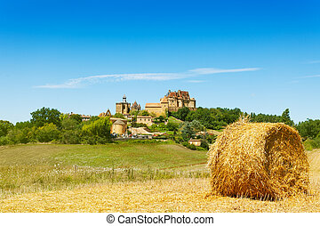 Panoramic landscape with french castle Biron