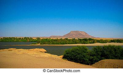 Panoramic landscape with the Nile river near Sai island , Kerma, Sudan