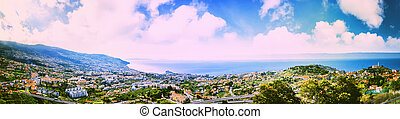 Panoramic landscape with view of Funchal, Madeira island