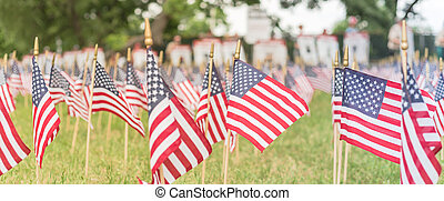 Panoramic lawn American flags with blurry row of people carry fallen soldiers banners parade