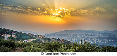 Panoramic look of northen Israel during sunset
