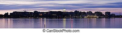 Panoramic Madison, Wisconsin. Downtown seen accross Lake Monona.