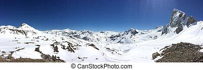 panoramic mountain in winter