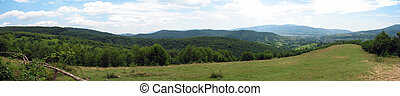 panoramic mountain landscape high angle view rural scene