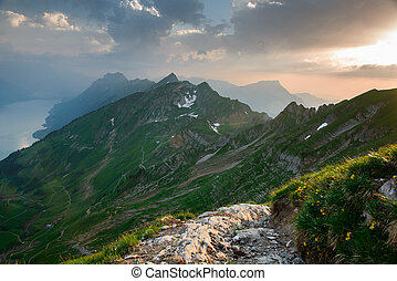 Panoramic mountain view from Brienzer Rothorn at Sunset,...