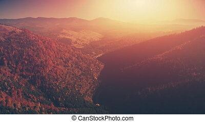 Panoramic mountain wood slope sunset aerial view - Panoramic...