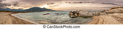 Panoramic of Algajola beach in Corsica