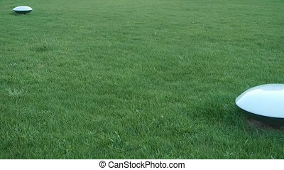 panoramic of beautiful Lamps in grass lawn.