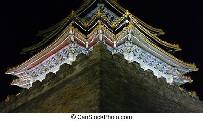 Panoramic of Beijing Forbidden City turret in night.Gorgeous...
