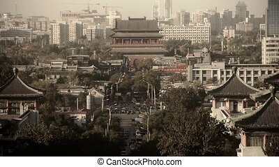 Panoramic of China ancient tower architecture & urban high...
