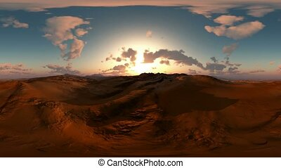 panoramic of desert at sunset. made with the one 360 degree...