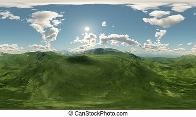 panoramic of green hills landscape timelapse. made with the...