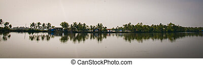 Panoramic of lake in Kerala, India