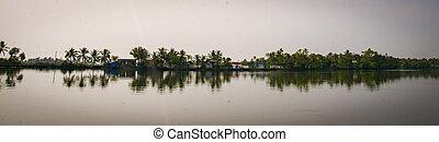 Panoramic of lake in Kerala, India