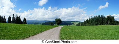 Landscape in the Black Forest in Germany; panoramic view over meadows and forests, mountains and valleys, at the horizon is the Feldberg Mountain, hiking on the long-distance hiking trail, blue sky and white clouds