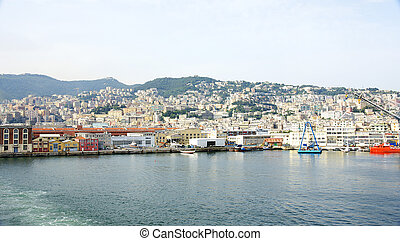 Panoramic of the port of Genoa