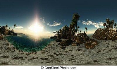 panoramic of tropical beach at sun