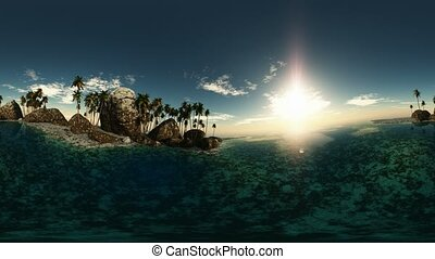 panoramic of tropical beach at sun