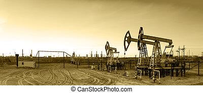 Panoramic oil pumpjack.