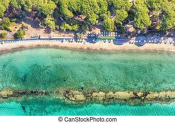 Panoramic overhead view of beautiful beach in summer