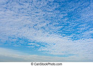 Panoramic photo of beautiful cirrocumulus clouds on blue sky