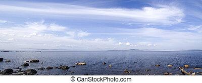 Panoramic photo of Onego lake