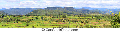 Panoramic photo of valley landscape
