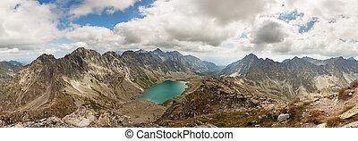 Panoramic photo of Velke Hincovo Pleso lake valley in Tatra Mountains, Slovakia, Europe