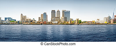 Panoramic picture of Canary Wharf view from Greenwich. This...
