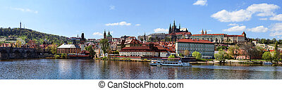 Panoramic Prague Castle - Panorama of Prague Castle, Lesser...