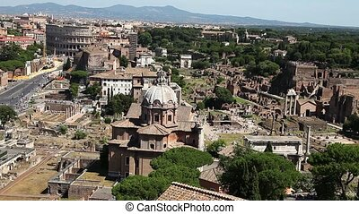 panoramic Roman Forum - 180 degrees panoramic aerial view of...