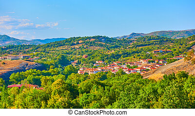 Panoramic rural landscape with village in Thessaly - ...