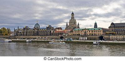 Panoramic scene in Dresden, Germany