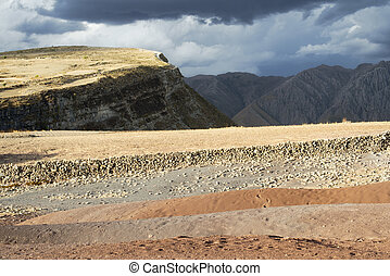 Panoramic Scenic Landscape At Maragua Crater With Heavy Clouds Over The Rigid Mountains, Bolivia