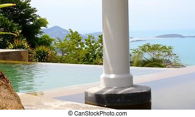 Panoramic seascape from Luxurious Swimming Pool. Thailand. Koh Samui.