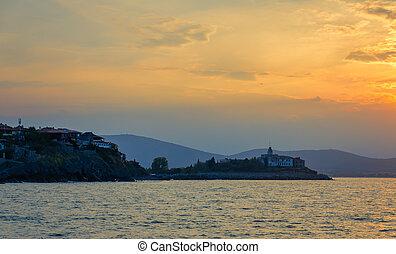 panoramic seaview at sunset - panoramic evening view at...