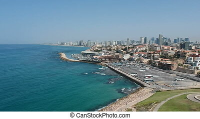 Panoramic shot from the air on Tel-Aviv skyline shot clip