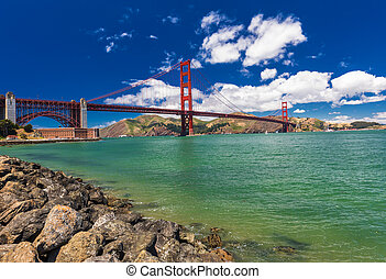 Panoramic shot of Golden Gate Bridge in San Francisco, California