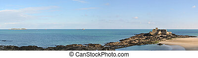 Panoramic Shot of Le Grand Be Fort in Saint Malo Bay with Quiet Sea and Blue Sky