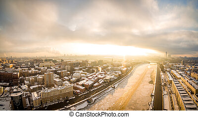 Panoramic shot of Moscow River