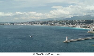 Panoramic shot of Nice, France on a sunny spring day,...