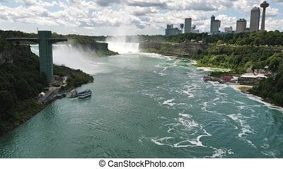 Panoramic Slow Motion View on Niagara Falls From Rainbow International Bridge