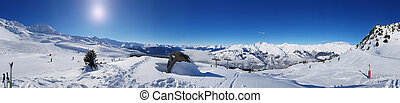 panoramic snowy mountain landscape