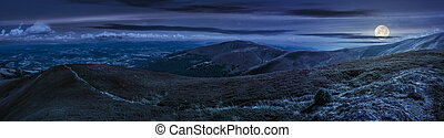panoramic summer landscape in Carpathians at night -...