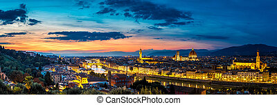 Panoramic sunset in Florence - Panoramic sunset over...