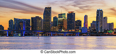 Panoramic sunset, Miami - Miami Florida, sunset with...